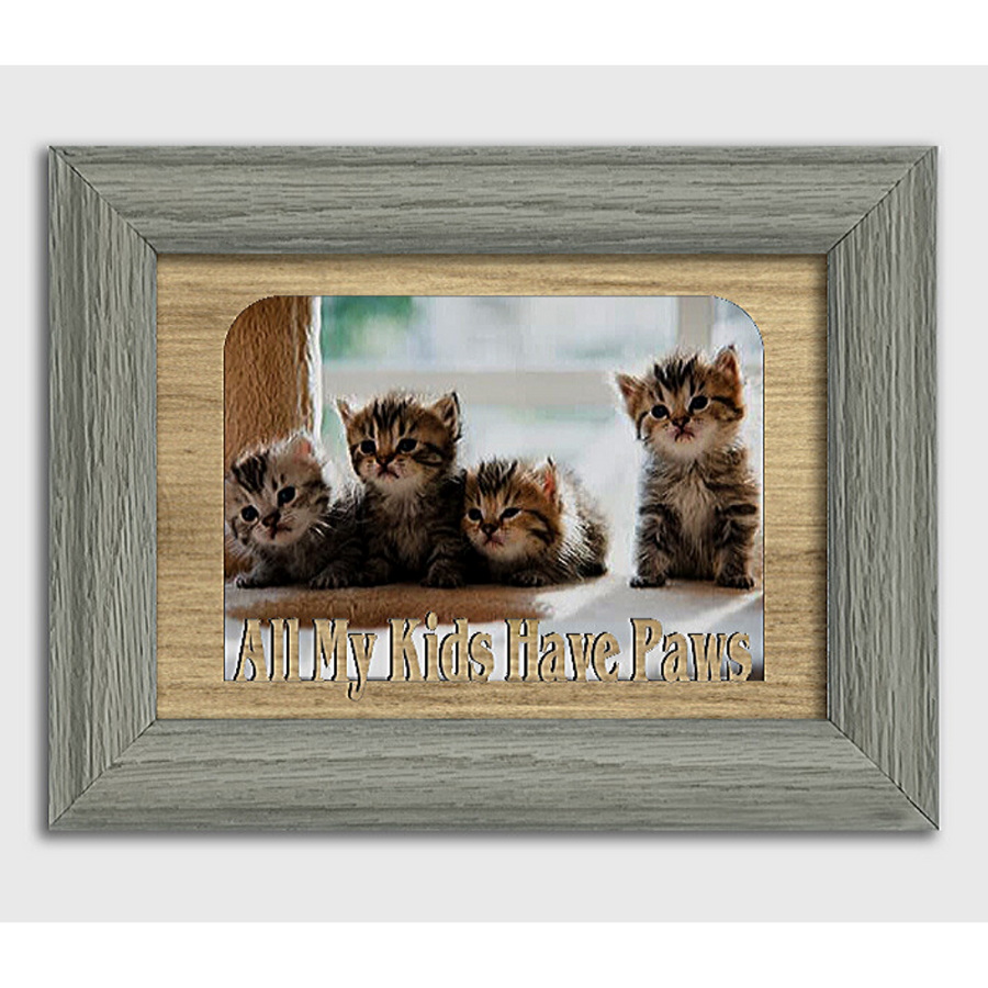 All My Kids Have Paws Tabletop Picture Frame - Holds 4x6 Photo - Multiple Color Options