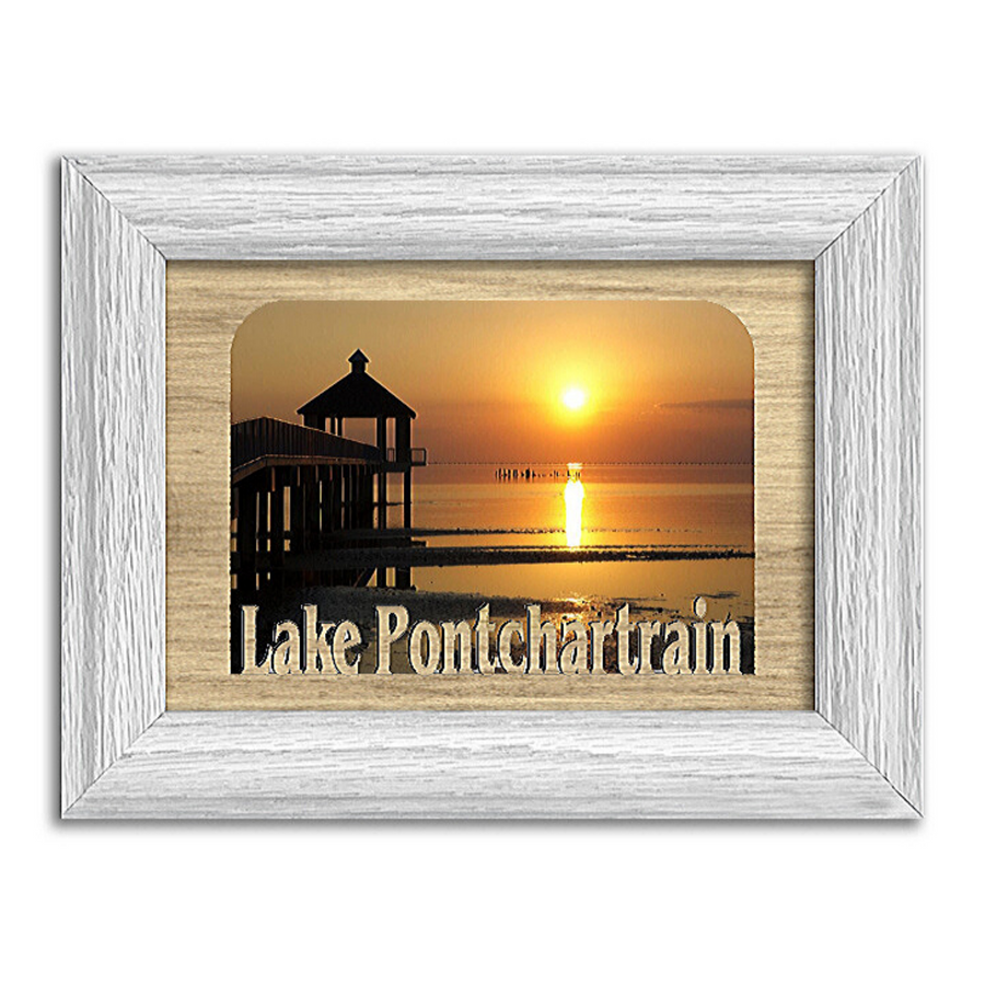 Louisiana Lake Pontchartrain  Personalized Custom Lake Name Picture Frame 5x7