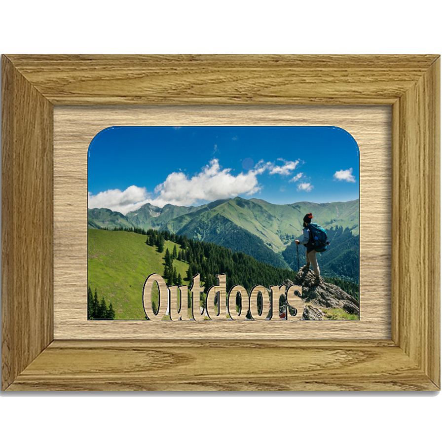 Outdoors Tabletop Picture Frame - Holds 4x6 Photo - Multiple Color Options