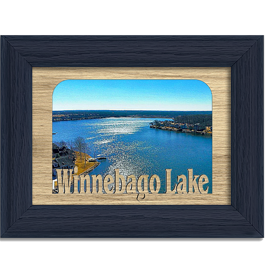 Wisconsin Winnebago Lake Personalized Custom Lake Name Picture Frame 5x7