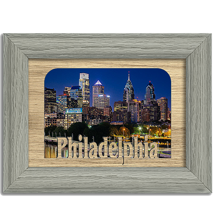 Philadelphia Tabletop Picture Frame - Holds 4x6 Photo - Multiple Color Options