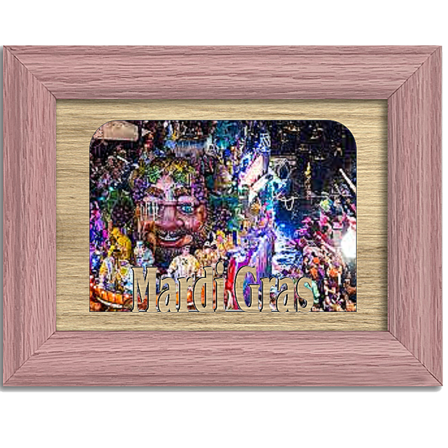 Mardi Gras Tabletop Picture Frame - Holds 4x6 Photo - Multiple Color Options