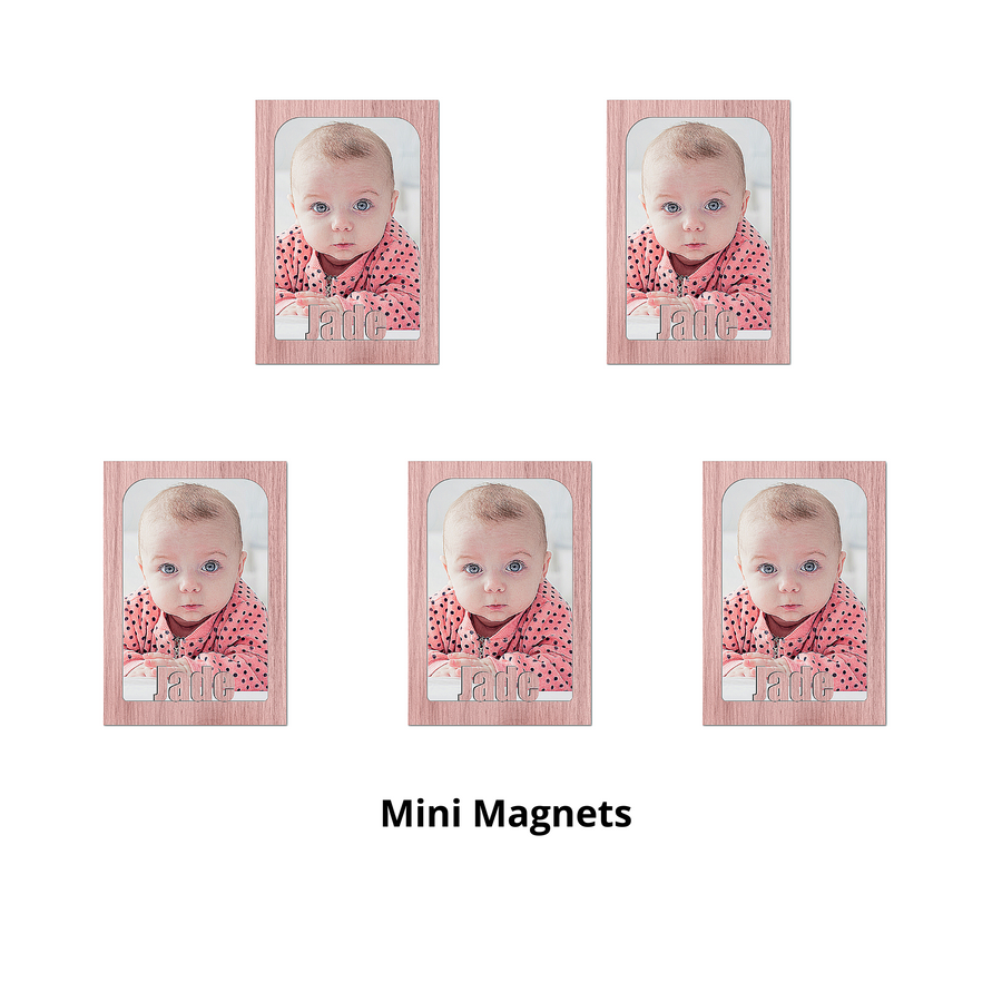 Mini - Personalized Magnetic Refrigerator Picture Frames  with Names Bundle - 5 Pack (Holds Mini School Wallet Photos) Name Magnet