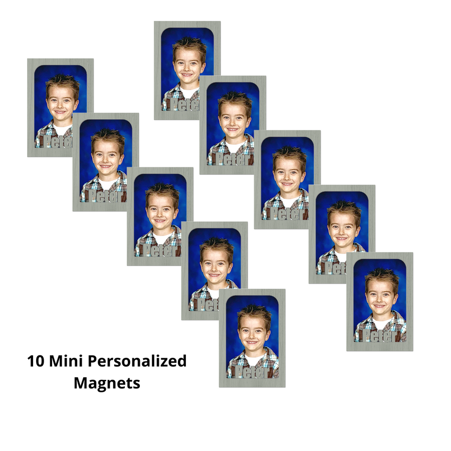 Mini - Personalized Magnetic  Refrigerator Picture Frames with Names Bundle - 10 Pack (Holds Mini School Wallet Photos) Name Magnet