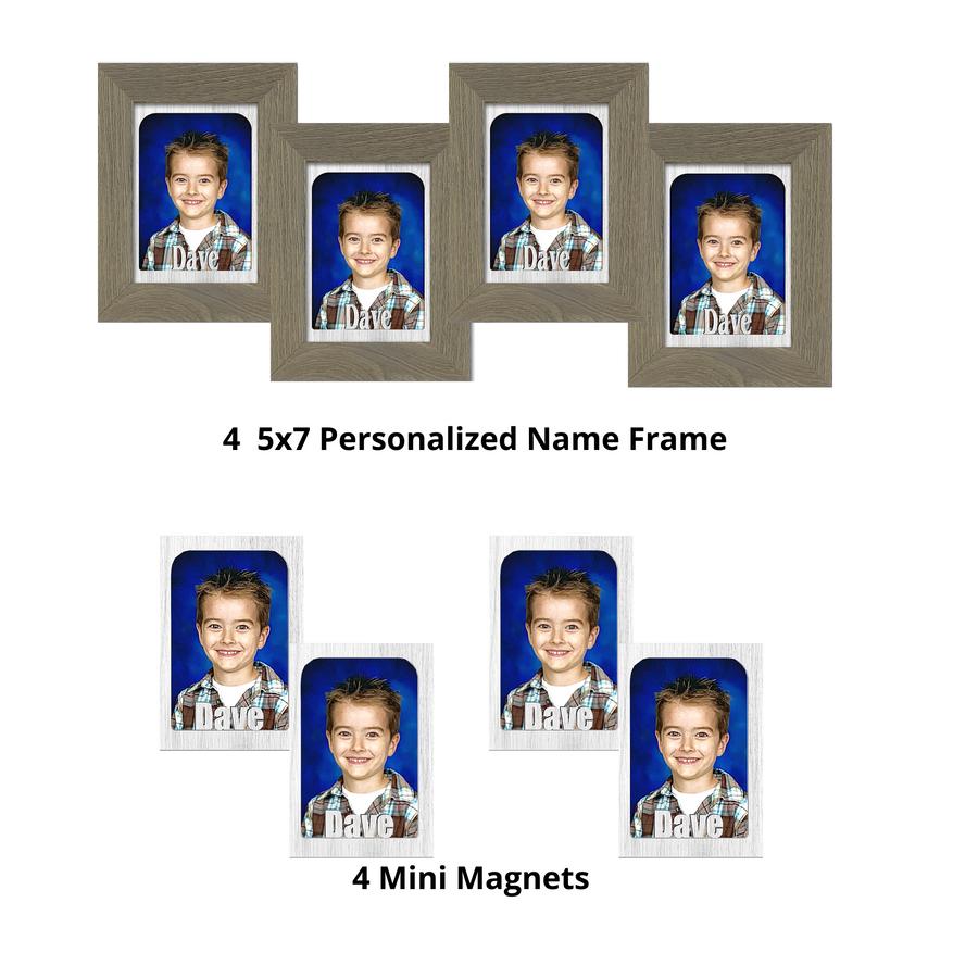 Name Frame and Refrigerator Bundle (4) Personalized 5x7 Name Frames (4) Personalized Refrigerator Magnets