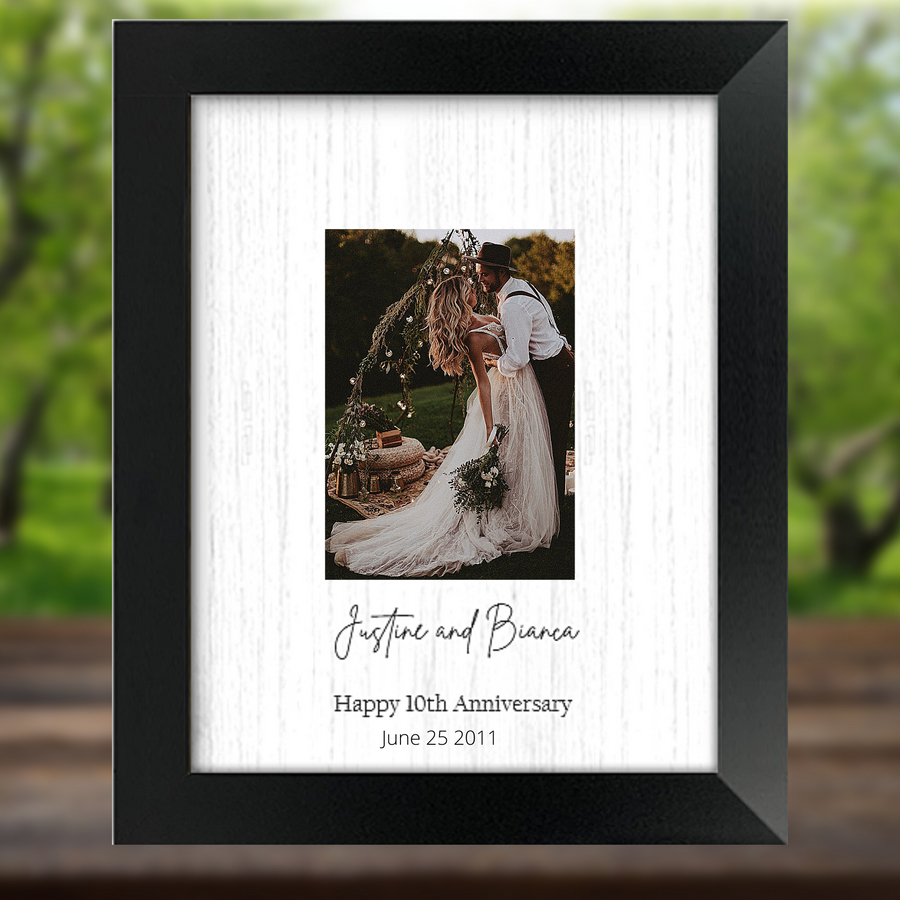 Anniversary Party Guest Signature Book Alternative - Signature Picture Frame - Personalized with Family Name and Anniversary Date - Holds 5x7 Photo - 11x14 Frame