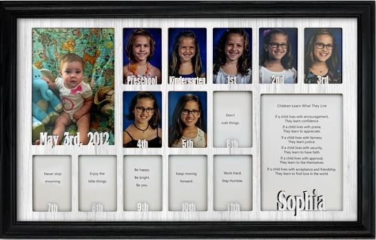 School Years Picture Frame Collage Personalized 12x20