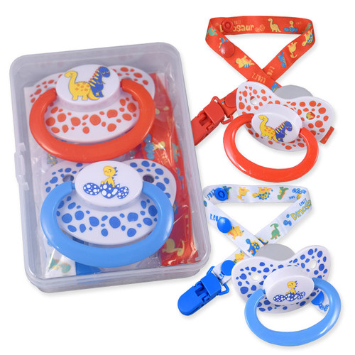 Dinosaur Pacifier and Clip 2 Pack