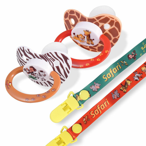 Safari Pacifier and Clip 2 Pack