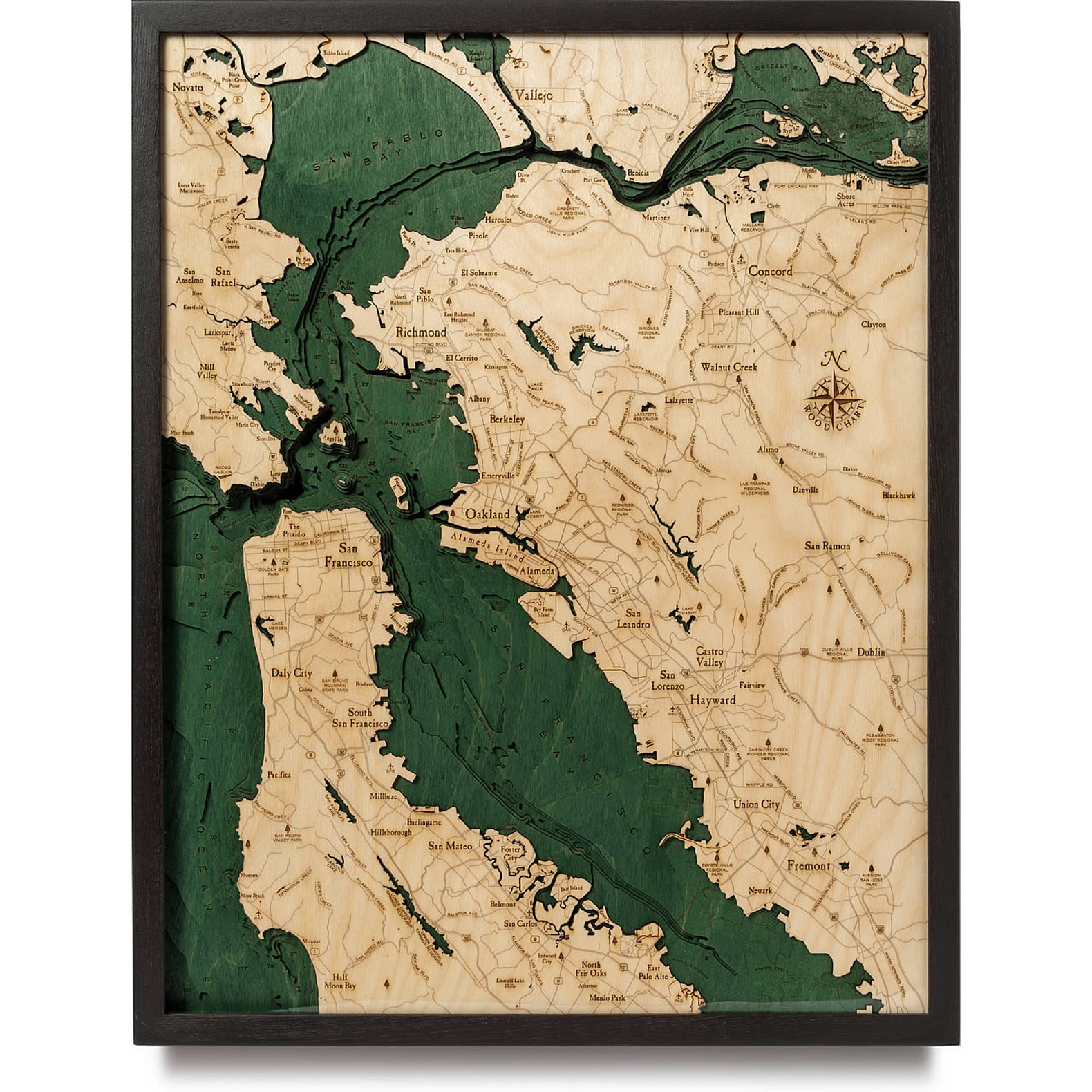 San Francisco Bay Wooden Map Art Topographic 3d Chart Map of san francisco area hotels: san francisco bay area large