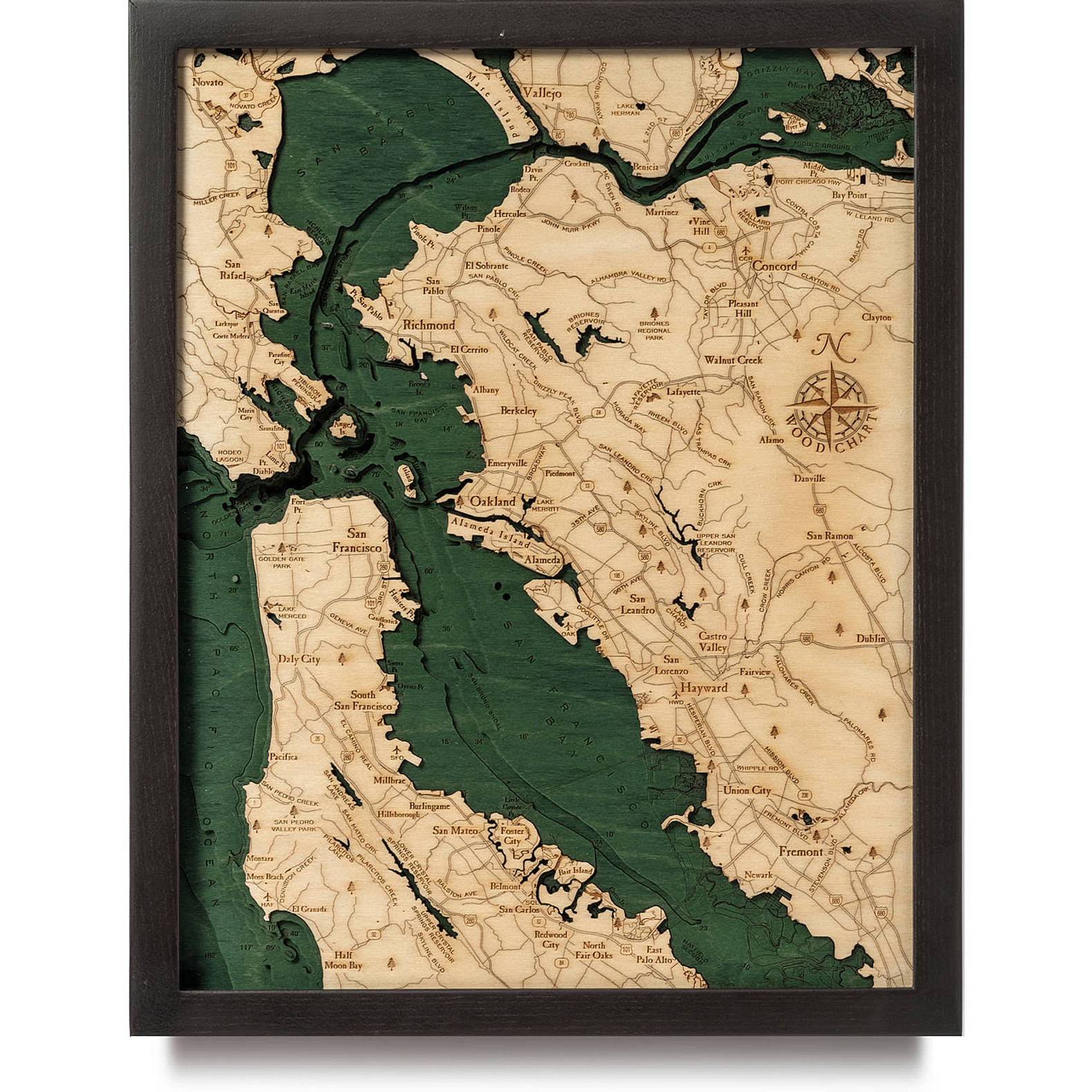 Picture of: San Francisco Bay Wooden Map Art Topographic 3d Chart