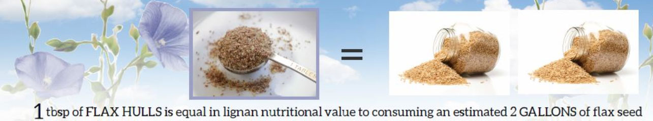 1 tbsp of FLAX HULLS is equal in lignan nutritional value to consuming an estimated 2 GALLONS of flax seed