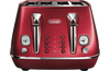 Delonghi CTI4003R Distinta Flair 4 Slice Toaster With Non-slip Feet- Glamour Red