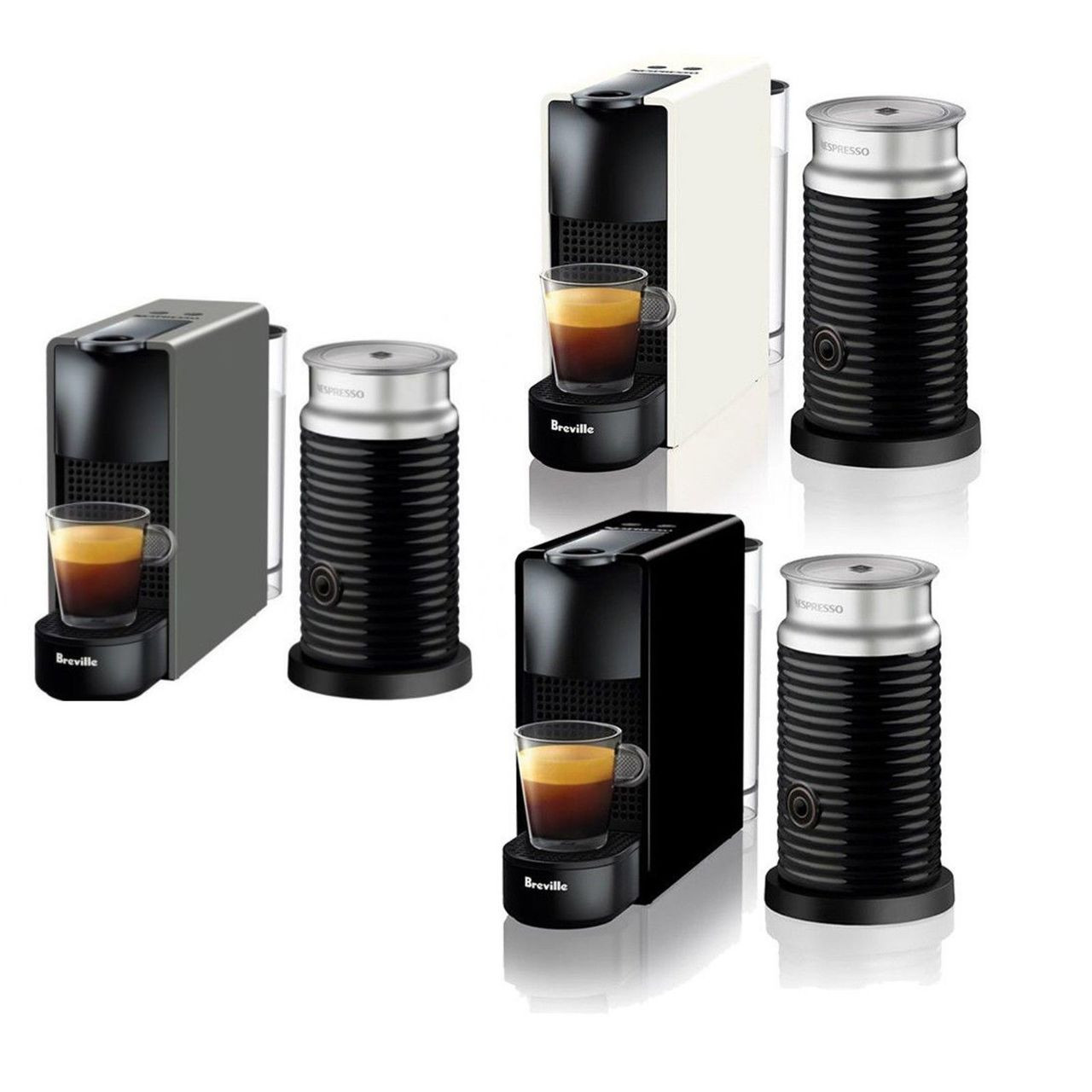 Breville BEC250 Essenza Bundle Nespresso Machine - Black - White - Grey