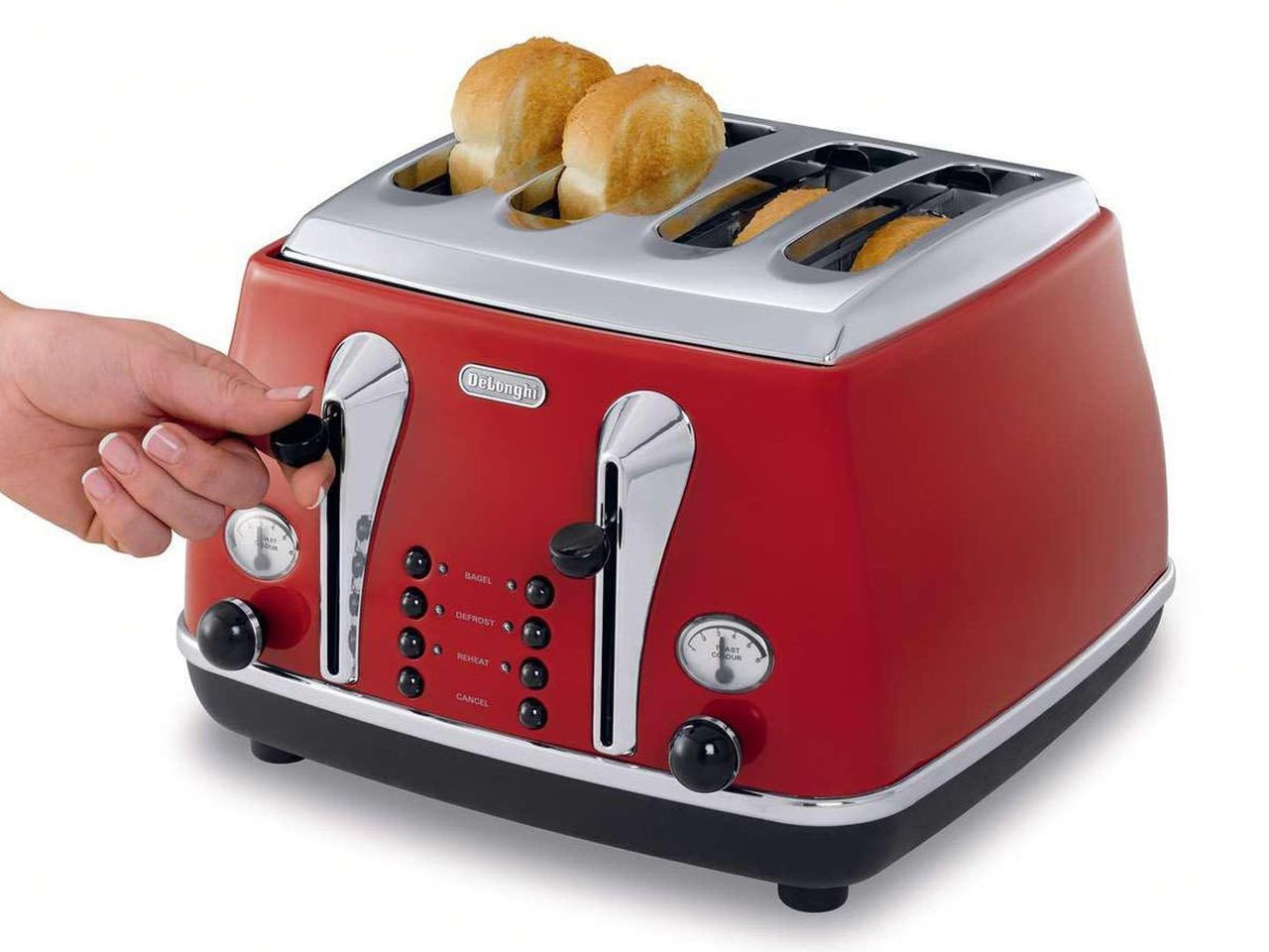 DeLonghi CTO4003R KBO2001R Icona 4 Slice Toaster & Kettle PACK - Red