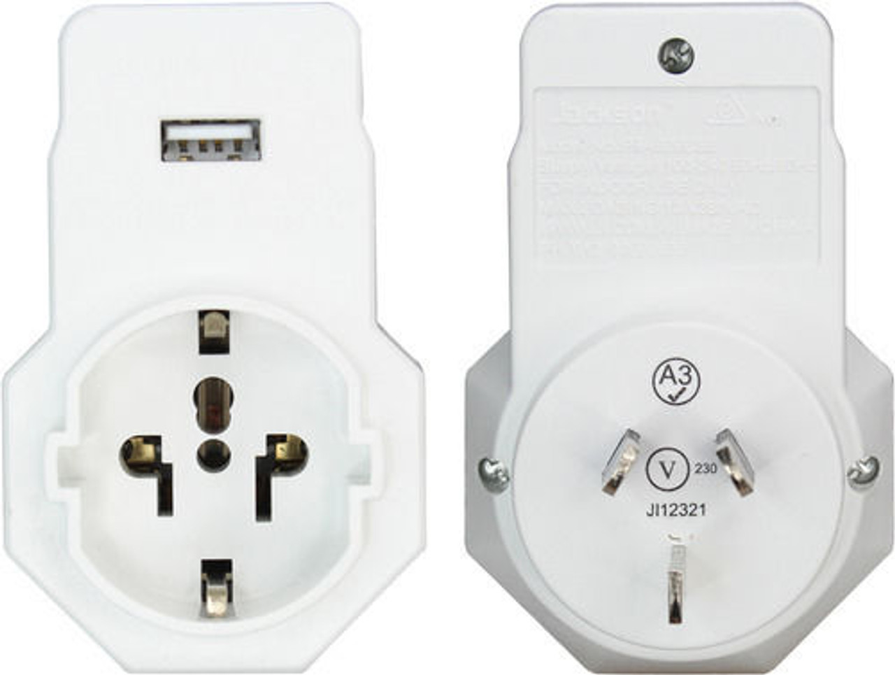 Jackson PTA929USB Inbound Travel Adaptor with USB - Suits European and USA plugs