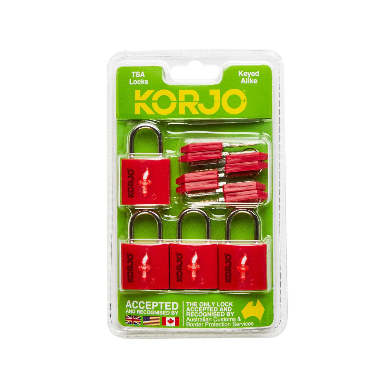 Korjo TSALL4 TSA Keyed Locks 4 Pack - Red