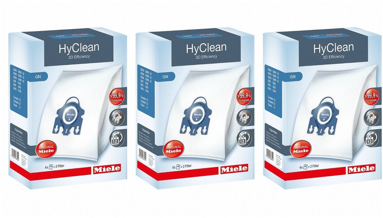 Miele GN HyClean 3D Efficiency Dustbags x 3 BOXES INCLUDED