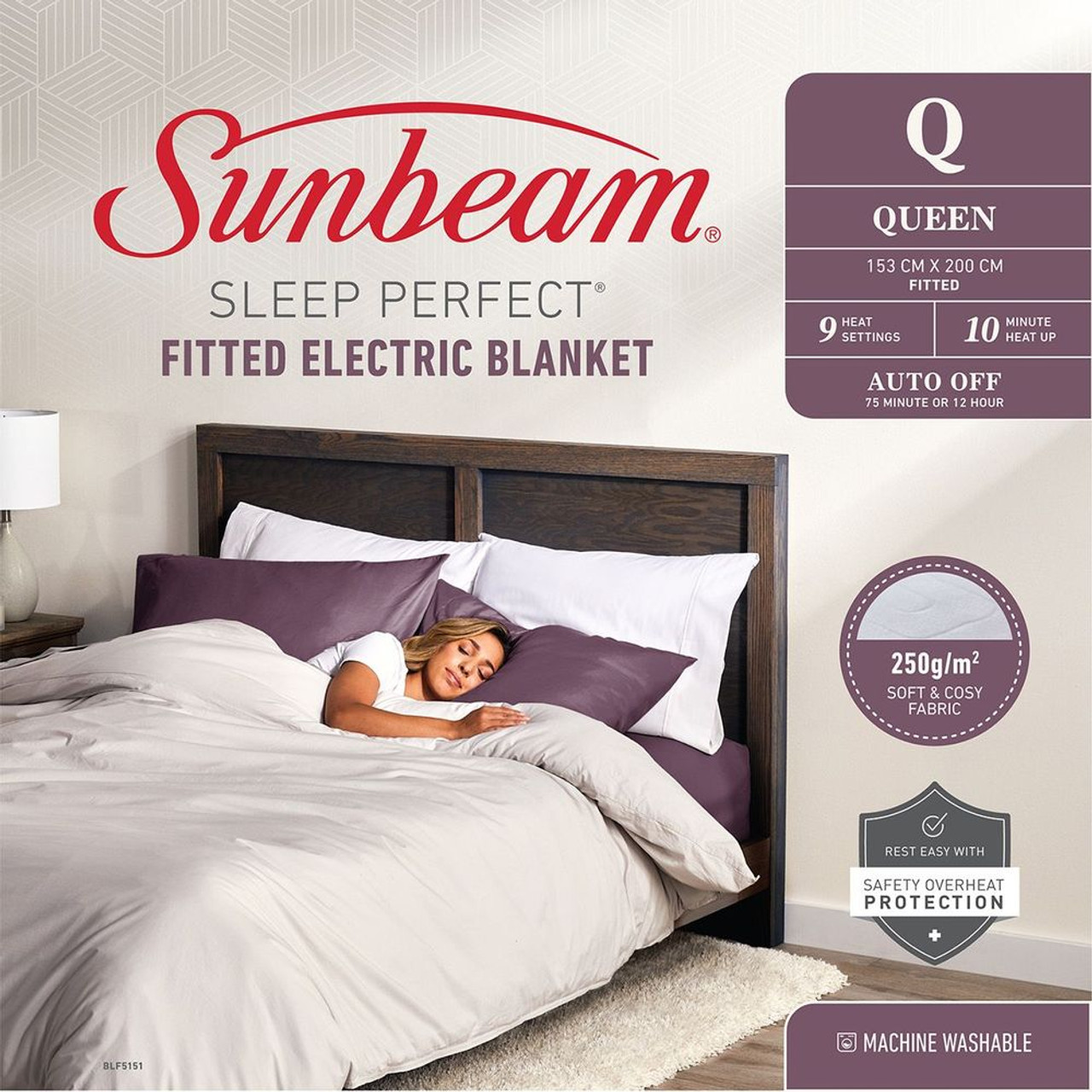 Sunbeam BLF5151 Sleep Perfect™ Fitted Heated Blanket - Queen Bed