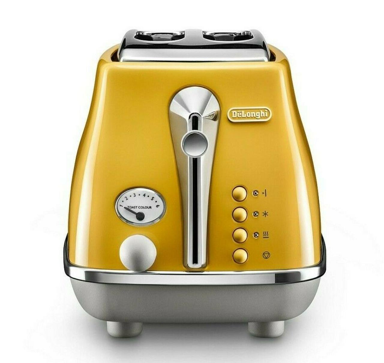 Delonghi CTOC2003Y Icona Capitals 900W 2 Slice Toaster - New York Yellow