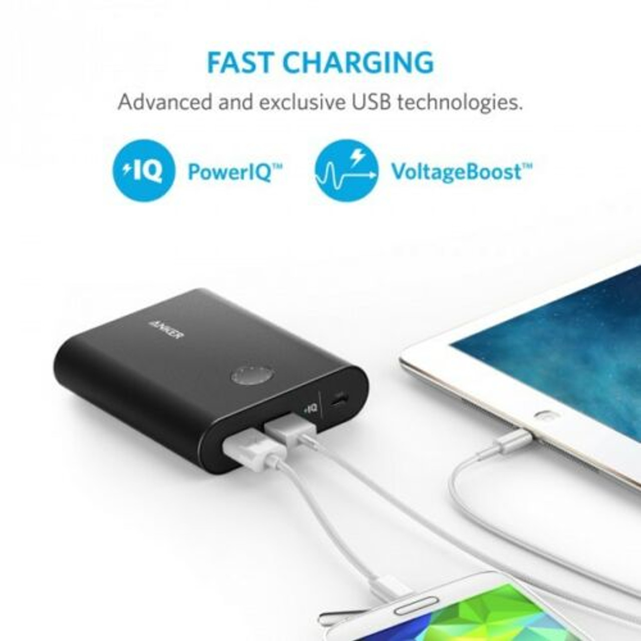 Anker A1316H11/A1316H41/A1316HB1 PowerCore+ 13400mAh Power Bank - Black/Silver/Rose Gold - RRP $129.95
