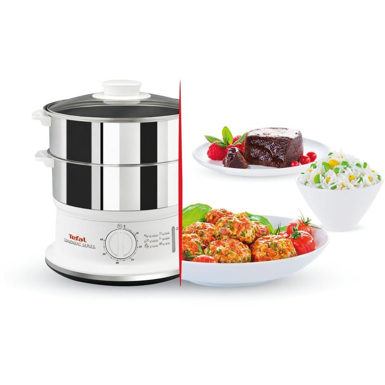 Tefal VC1451 Convenient Series 2-Tier Steamer With 6L Capacity - Stainless Steel