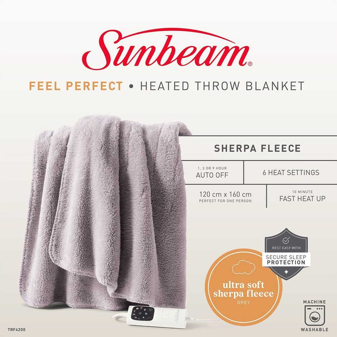 Sunbeam TRF4200 Sunbeam Feel Perfect Sherpa Fleece Heated Throw Blanket