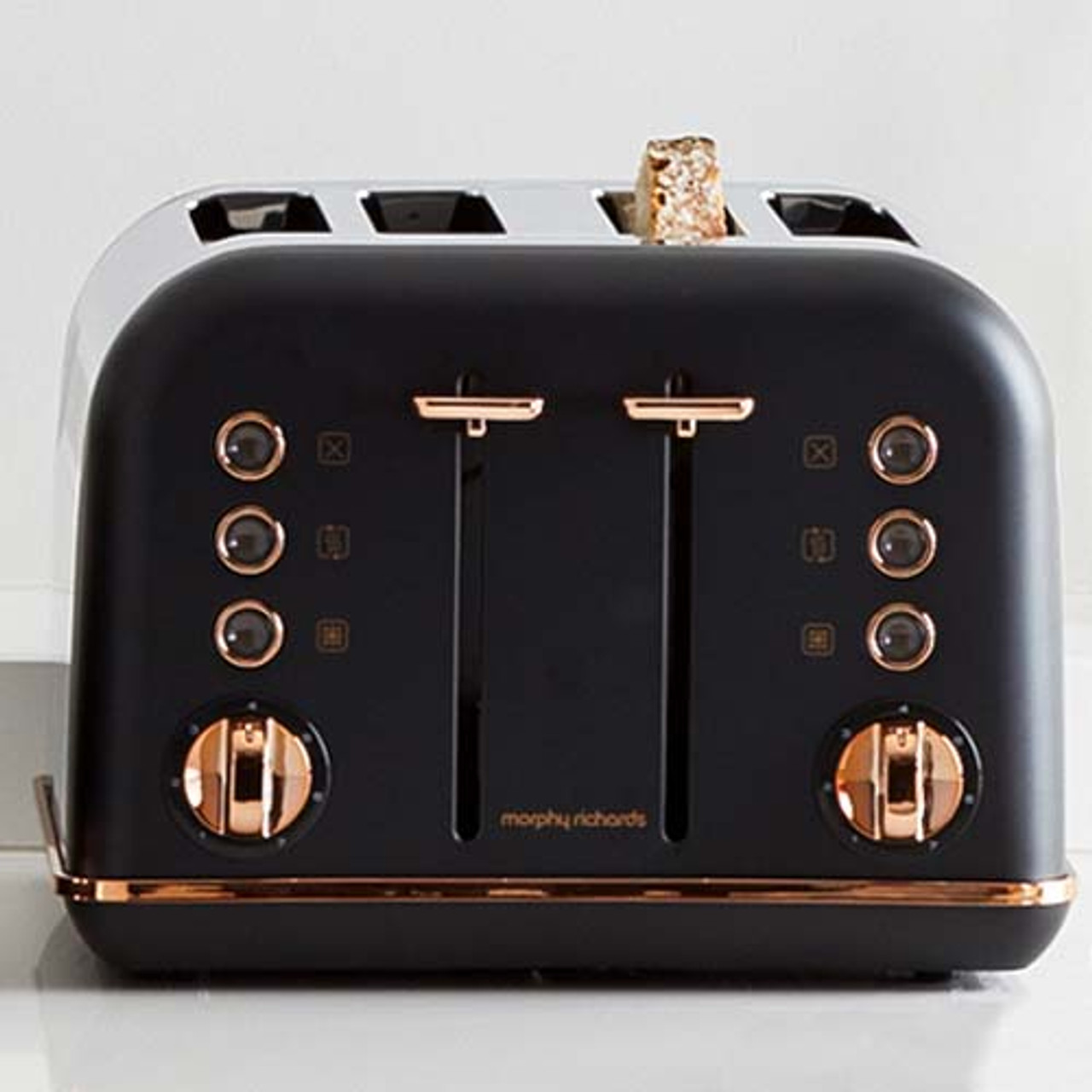 Morphy Richards 202107 Accents Rose 1880W 4 Slice Toaster - Gold Black
