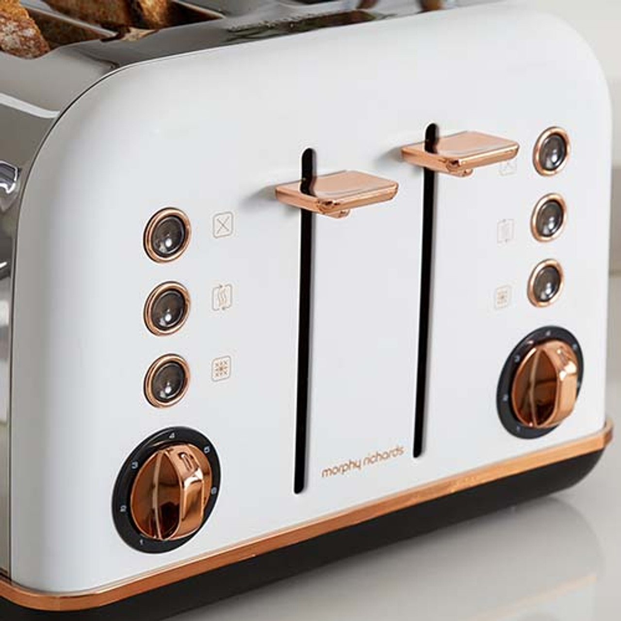 Morphy Richards 202108 Accents Rose 1880W 4 Slice Toaster - Gold White