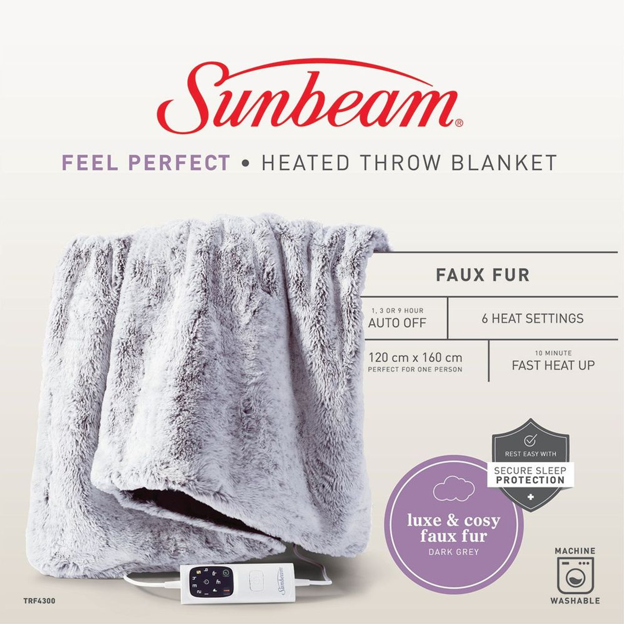 Sunbeam TRF4300 Sunbeam Feel Perfect Sherpa Fleece Heated Throw Blanket