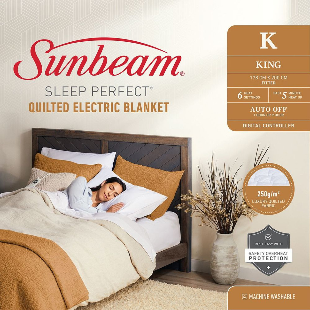 Sunbeam BLQ5471 Sleep Perfect™ Quilted Heated Blanket - King Bed