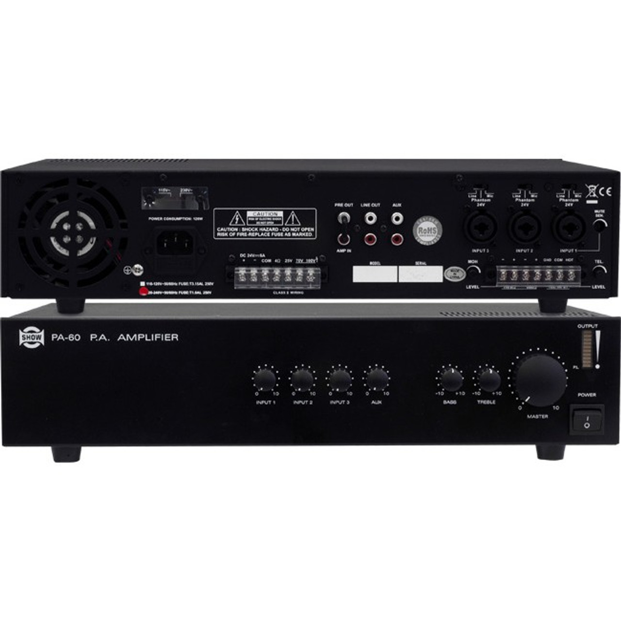 SHOW PA60 60W High Performance Professional Multiplex Amplifier - Black