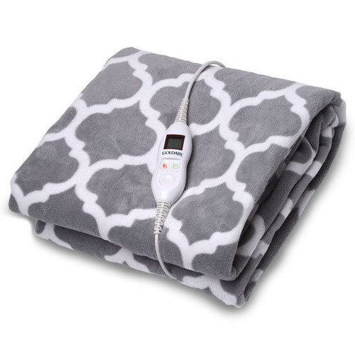 Goldair GEFT255 Quatrefoil Micro Fleece Throw + Detachable LED controller