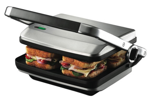 Sunbeam GR8450B Café Press® Brushed with Flat Cooking Plates & Cheese Melt - HURRY LAST 6!