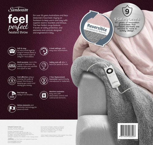 Sunbeam TR3300 Feel Perfect® Snug & Cosy Reversible Heated Throw - Pink & Grey - HURRY LAST 4!