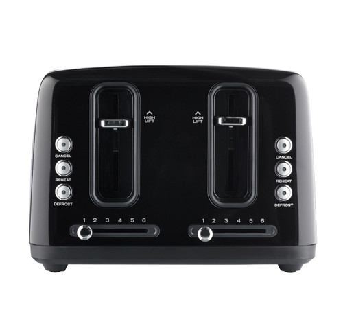 Sunbeam TA6344K Simply Stylish 4 Slice Toaster with Defrost & Reheat - Black