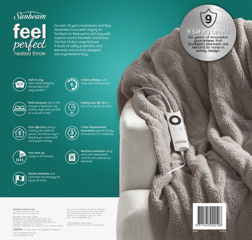 Sunbeam TR3100G Feel Perfect® Cosy Sherpa Fleece Heated Throw - Warm Grey