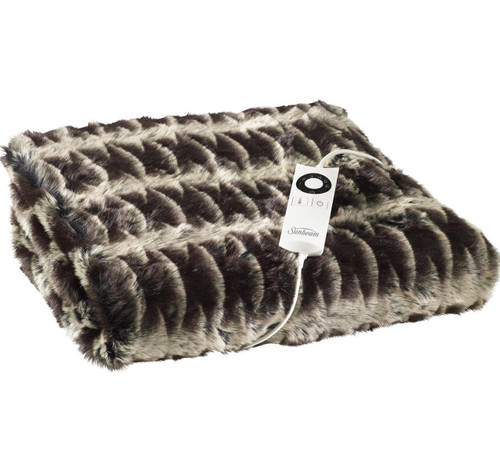 Sunbeam TR6300 Feel Perfect Luxe Faux Fur Heated Throw - Chocolate - STOCK DUE NOVMBER