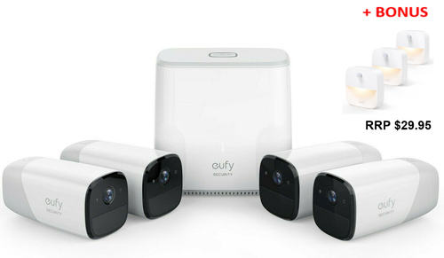Eufy T8807CD3 Wireless HD Security 4-Camera Set with Home Base Kit + BONUS LIGHT