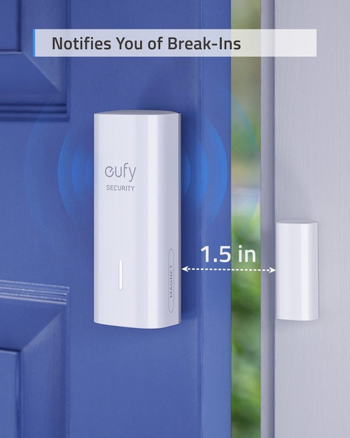 Eufy T89001D1 Door and Window Wire-Free Security Entry Sensor with 100dB Siren
