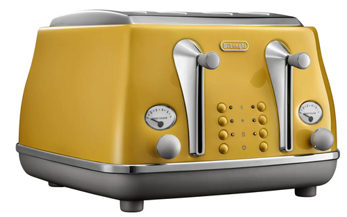 Delonghi CTOC4003Y Icona Capitals 4 Slice Toaster - New York Yellow