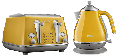Delonghi CTOC4003Y KBOC2001Y Icona Capitals Toaster + Kettle PACK - New York Yellow