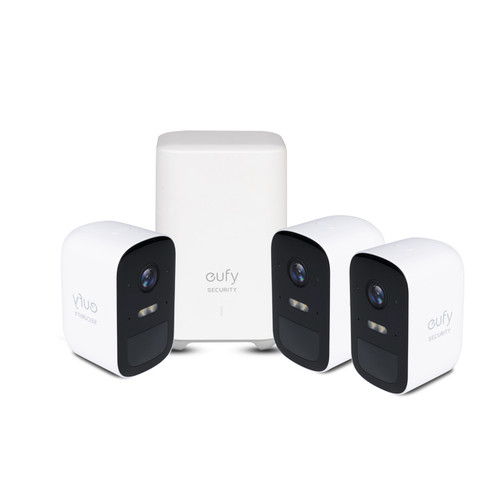 Eufy T8832CD3 1080p 2C Wire Free Security 3-Camera Kit With AI Homebase Unit