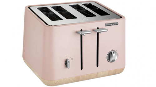 Morphy Richards 240012 Scandi Wooden Trim 4 Slice Toaster - Dusty Pink