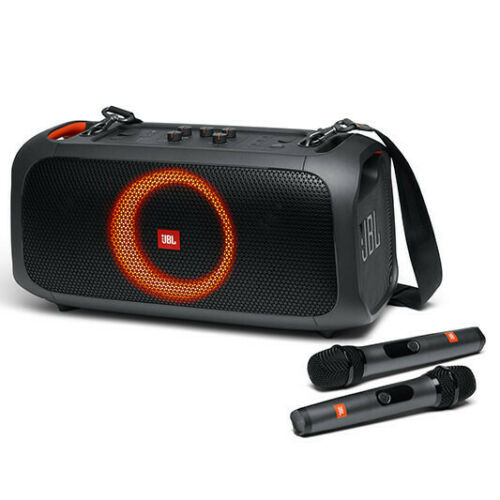 JBL PartyBox On-The-Go Portable Speaker with 2 Microphones and Built-In Lights