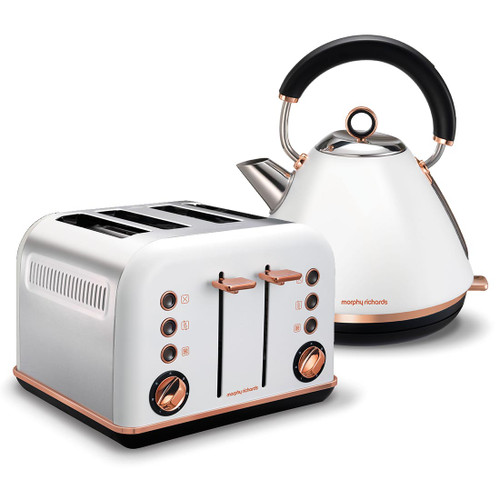 Morphy Richards 102108 242108 Accents Rose Kettle & Toaster Pack - Gold White