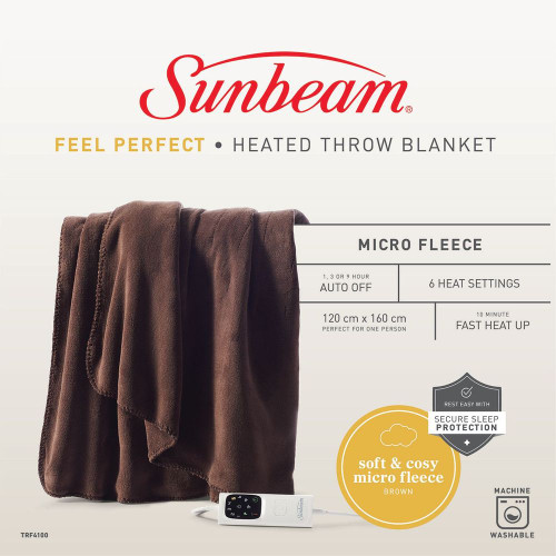 Sunbeam TRF4100 Sunbeam Feel Perfect Sherpa Fleece Heated Throw Blanket