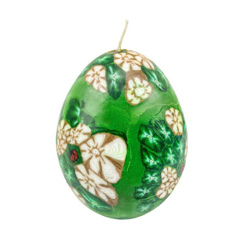 Green Flower Glow In Dark Egg Candle Floral Scented with Natural Fragrance