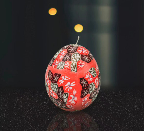 Red-Flower Glow In Dark Egg Candle
