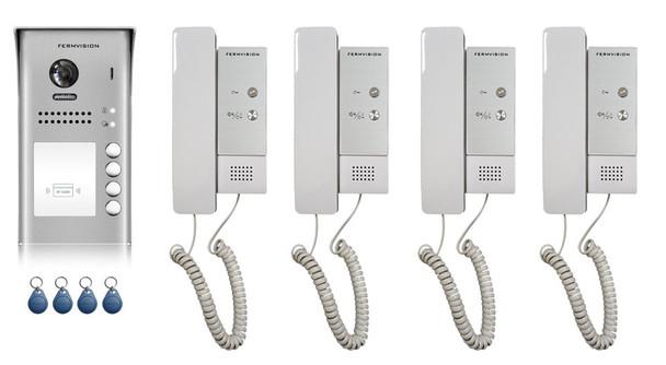 2-Wire 4pb Audio Intercom w. Prox Kit